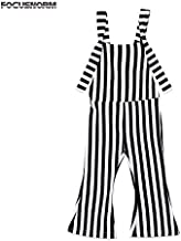HealthyNeeds Toddler Kids Girl Vertical Striped Brace Flare Pants Overalls Jumper Sleeveless Back Romper Outfit For ld 1-5Y