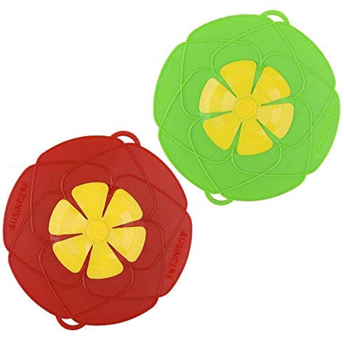 AUANDYU 2 X Spill Stopper Lid Cover And Spill Stopper, Boil Over Safeguard,Silicone Spill Stopper Pot Pan Lid Multi-Function Kitchen Tool (Green And Red)
