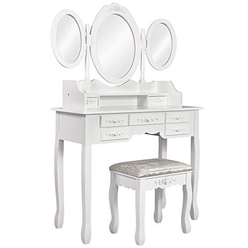 Meerveil Schminktisch, Kosmetiktisch mit Hocker, 3 Spiegel und 7 Schubladen, weiß