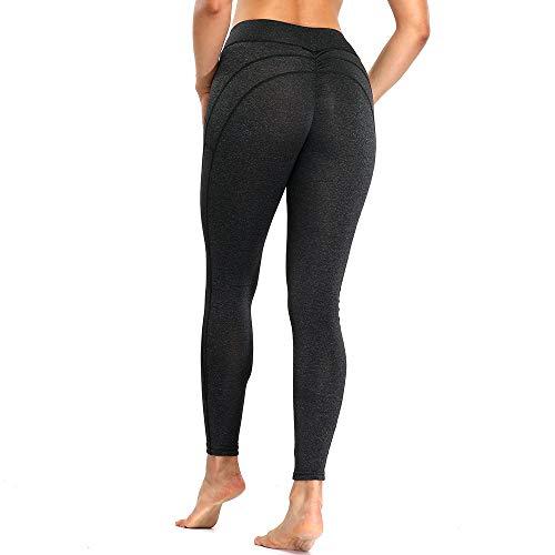 YHXY Leggings de Yoga de Cintura Alta sin Costuras para Yoga, Mallas para Mujer, Ropa Deportiva Transpirable, Pantalones de Entrenamiento para Mujer, Gris Oscuro