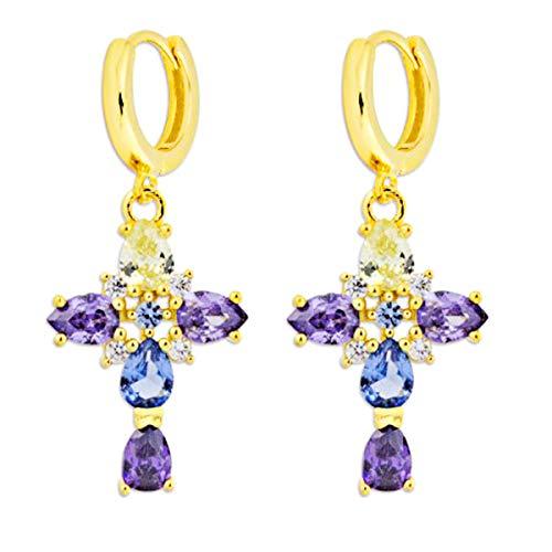 Iyé Biyé Jewels - Pendientes Aros Mujer Plata de Ley 925 Chapado Oro Amarillo Cruz Circonitas Colores 15 Mm Cierre Clip