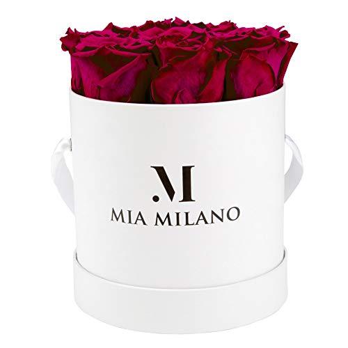 Mia Milano Rosenbox mit Infinity Rosen (Versand in neuer stabiler Kartonage) Flowerbox mit konservierten Blumen l 3 Jahre haltbar (Large, Large Weiß - Bordeaux)
