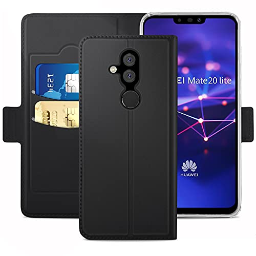 YATWIN Handyhülle für Huawei Mate 20 Lite Hülle Premium Leder Flip Schutzhülle mit Kreditkarten, Geldfächern & Standfunktion für Huawei Mate 20 Lite Hüllen, Schwarz