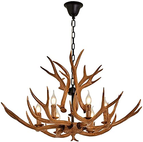 Araña de astilla, lámpara de estilo vintage de la luz del techo de la piel sintética, con 6 lámpara de espiral de E14, luces colgantes rústicas para comedor, sala de estar, bar, cafetería