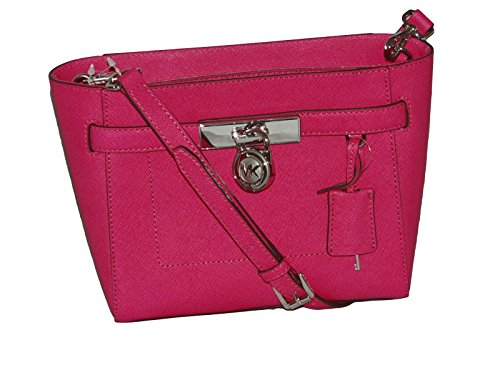 Michael Kors - Hamilton Saffiano Leather Medium Messenger Crossbody Bag - Raspberry