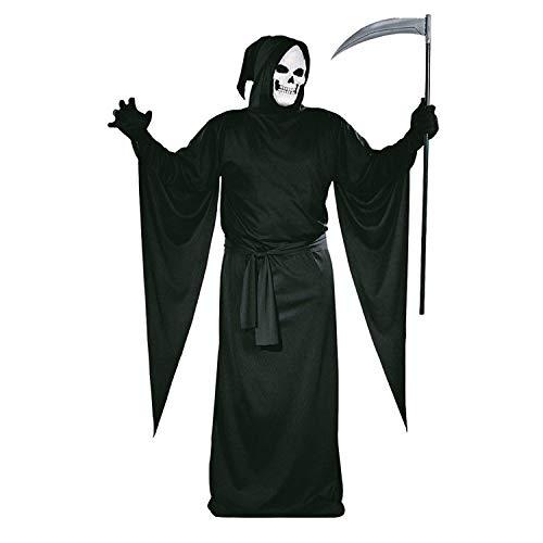 Tante Tina Sensenmann Kostüm Herren und Damen - 2-teiliges Tod Kostüm Set für Erwachsene mit Mantel und Maske - Schwarz - Größe L ( 54 / 56 )