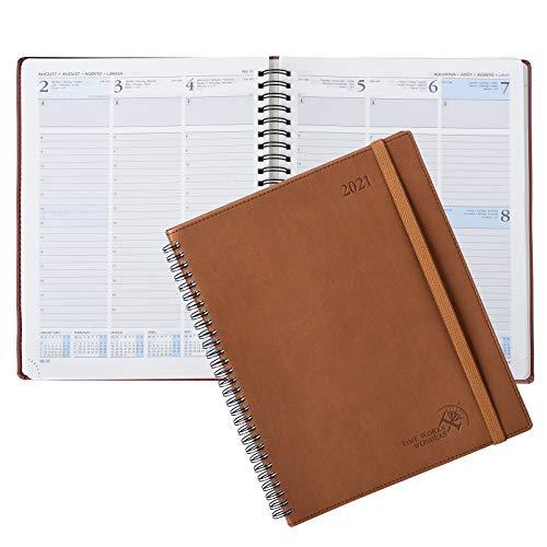 Kalender 2021 Wochenplaner ca. A4 - Terminkalender 1 Woche 2 Seiten - Terminplaner mit Softcover Veganem Leder - Wochenkalender Planer 2021, 21 x 26 cm, Braun