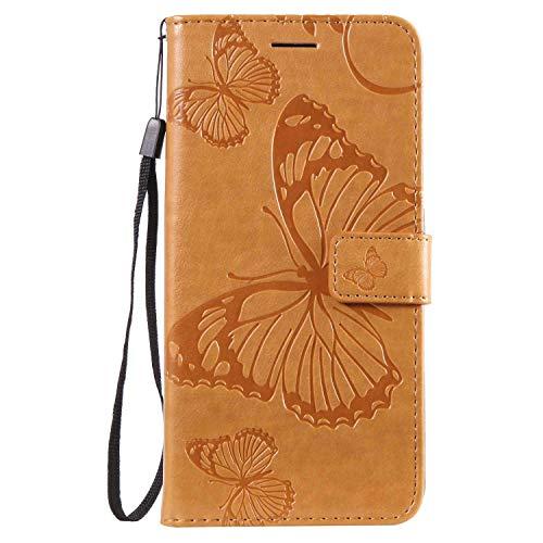 DENDICO Hülle für Nokia 8.1 Plus/Nokia X71, PU Leder Handyhülle Schutzhülle mit Standfunktion & Kartenfach für Nokia 8.1 Plus/Nokia X71 - Gelb