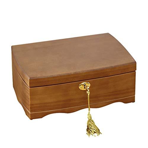caja organizadora de joyas Sólido joyería de bloqueo Caja de Madera La joyería de la caja de estilo chino de los pendientes de los pendientes del collar de gama alta mano del reloj de la joyería caja