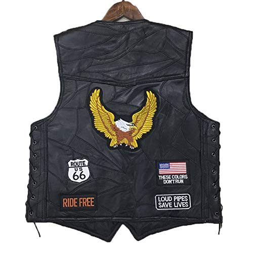 HCCX Motorfiets Vest Punk Retro Klassieke patch Motorjas Leer Golden Eagle Borduurwerk Badge Ontwerp Fietsen Club Casual Wear - Outdoor Sportswear