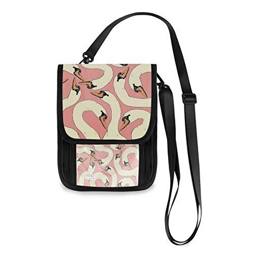 Cartera de viaje para el cuello egipcio, para pasaporte de viaje, bolsa para el cuello, bolsa de teléfono para mujeres y hombres Multicolor Cabeza de Ganso Rosa 3 talla única