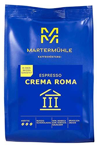 Martermühle I Espresso Crema Roma I 500g I Ganze Espresso Bohnen I Premium Espressobohnen aus Brasilien und Indien I Schonend geröstet I Kaffeebohnen säurearm I 40% Arabica 60% Robusta