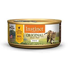 GRAIN FREE CAT FOOD WITH CAGE FREE CHICKEN: Instinct Original is made with 95% chicken, turkey & chicken liver, 5% vegetables, fruits & wholesome ingredients. This is high protein cat food with responsibly sourced cage free chicken as the #1 ingredie...