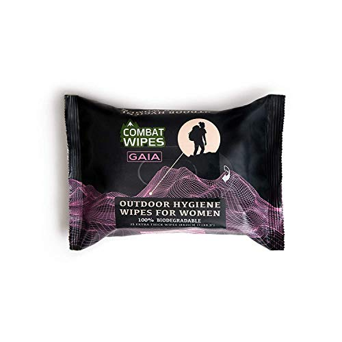 Combat Wipes Gaia | Feminine Hygiene Outdoor Wet Wipes | Extra Thick, Ultralight, Biodegradable, pH...