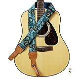 "MUSIC FIRST Original Design, 2 inch width (5cm), Ukiyoe Style ""The Dragon King"" Soft Muslin & Genuine Leather Delux Guitar Strap, Ukulele Strap, Mandolin Strap"