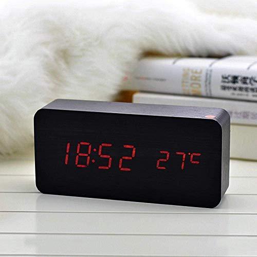 Leuke wekker van hout met voldoende led-wekker schattige wekker met elektronisch slot-functie voor temperatuurregeling van het scherm met geluid en rijkelijk LED en prachtige digitale tafelklok, wit