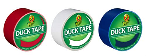 Duck Brand Color Duct Tape USA Combo 3-Pack, Red, White and Blue, 1.88 Inches x 20 Yards Each Roll, 60 Yards Total