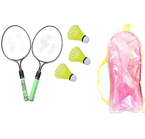 Forever Online Shopping Kid's Steel Badminton Rackets with Short Handle - Set of 2 , Small , Multicolour