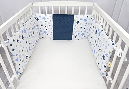 ZOE Zoom Protector para cuna de bebé, barandilla de cama infantil, con estrellas azules o rosas, 180 x 30 cm, universal, 100% algodón OekoTex – acolchado y desenfundable (azul)