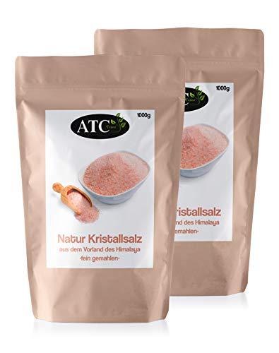 ATC Vital | feines Kristallsalz bekannt als Himalaya Salz aus Pakistan, rosa, 100% natürlich | 2kg (2x1000g)