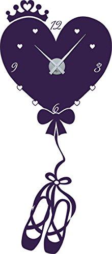 GRAZDesign muursticker klok hart als luchtballon - kinderklok kinderen wandklok ballerina / 800642 Uhrwerk silber 040, violet