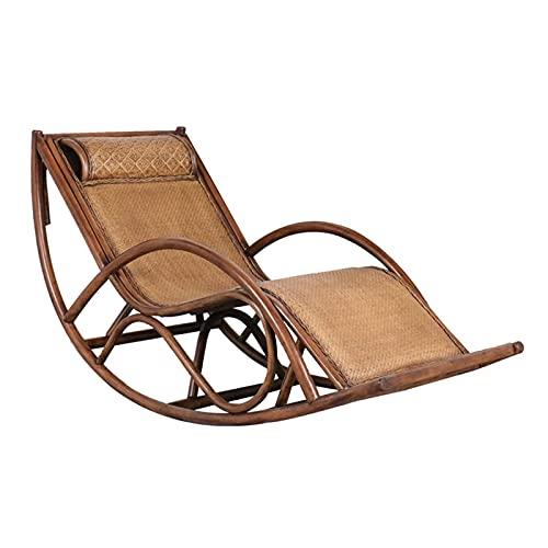 DGDF - Sedia a dondolo in vimini tradizionale, tessuto a mano, adatta per giardino, cortile, balcone, soggiorno, 170 x 70 x 90 cm
