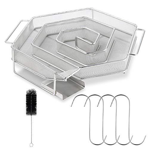 Kaltrauchgenerator, Kaltraucherzeuger aus Edelstahl Spiral Form für Kugelgrill, Cold Smoker Generator, Rauchgenerator 21 x 18 x 4 CM