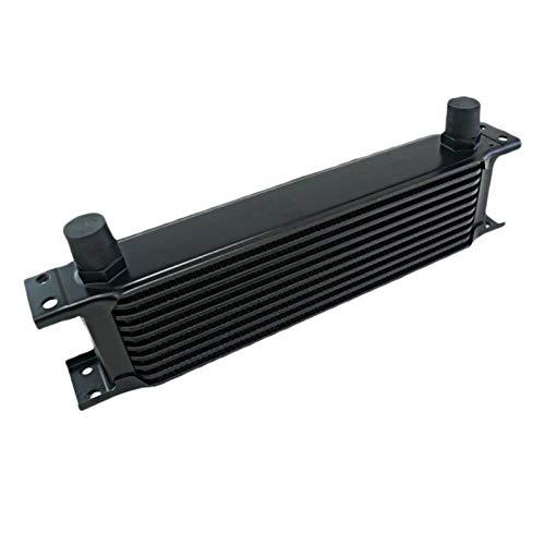 Kamenda Radiador de Aluminio Enfriador de Aceite de Motor de Coche de Tipo BritáNico de 10 Filas Reemplazo del Radiador de Enfriamiento Enfriador Universal Negro