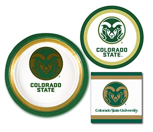Colorado State Rams Party Supplies - Bundle Includes Paper Plates and Napkins for 10 People