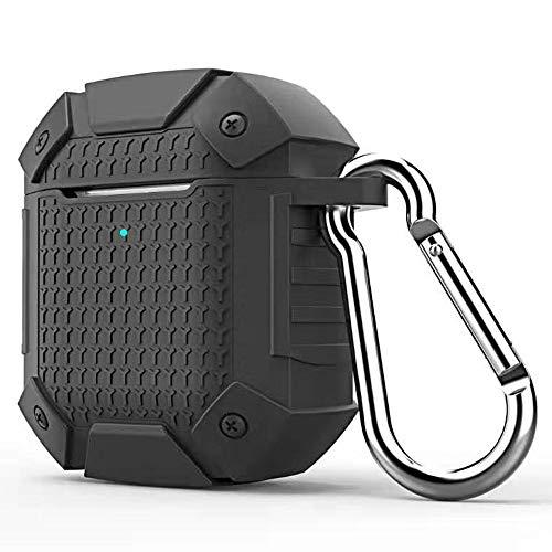 Draadloze hoofdtelefoon stoot-bescherming silicone beschermhoes voor Apple AirPods 02.01, draadloze versie, draadloze hoofdtelefoonhoes (kleur: zwart)