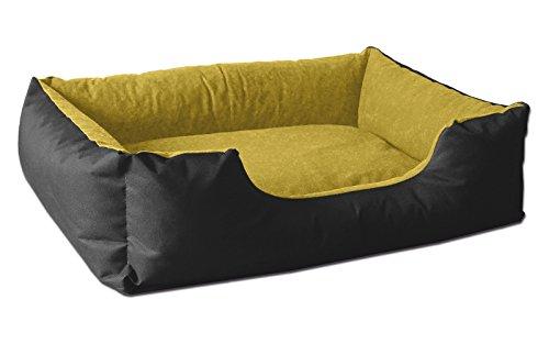 BedDog® lit pour Chien LUPI, Noir/Jaune, S env. 55x40 cm,Panier Corbeille, Coussin de Chien