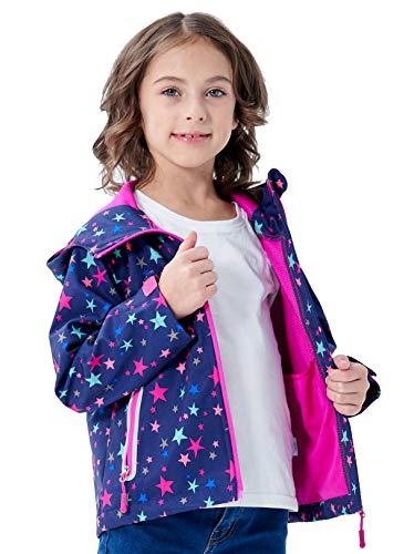 Boys Girls Rain Jackets Hooded Fleece Lined Waterproof Lightweight Coats Windbreakers Raincoats for Kids Purple Star XL