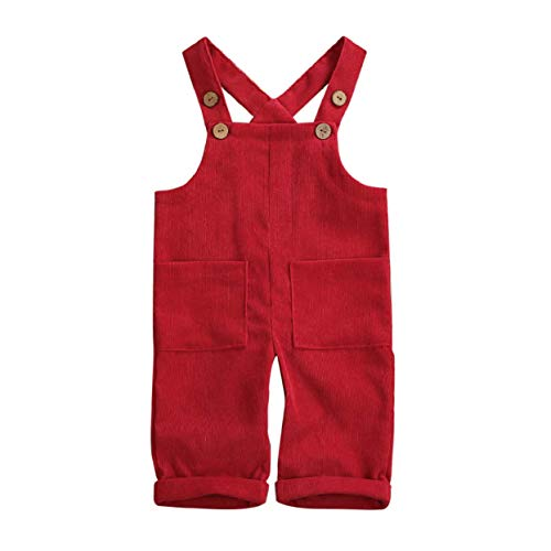 Baby Girl Boy Velvet Strap Suspender Overalls Pant Solid Jumpsuit Bib Pants One-Piece Spring Fall Clothes (1-2T, Romper Bodysuit Red)