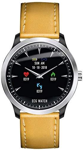 hwbq EKG PPG Smart Watch mit Elektrokardiograph, EKG-Display, Holter, EKG, Herzfrequenzmesser, Blutdruckmessgerät, Smartwatch, schwarzes Leder, Goldleder
