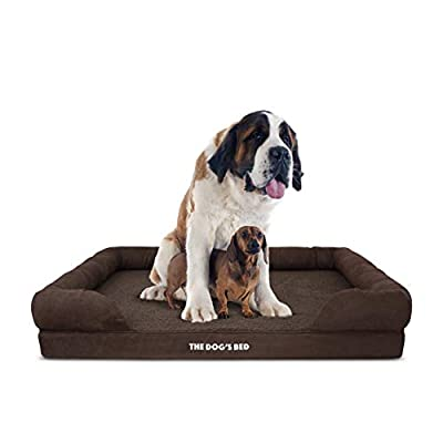 The Dog's Bed Orthopedic Dog Bed XXL Brown Plush 51.5x39, Premium Memory Foam, Pain Relief: Arthritis, Hip & Elbow Dysplasia, Post Surgery, Lameness, Supportive, Calming, Waterproof Washable Cover