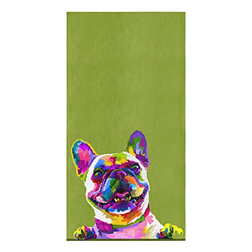 BoNuer Kitchen Towel Set of 1, French Bulldog Portrait Dish Towels Absorbent Microfiber Original Watercolor of Dog Funny Tea Towels Dishcloth for Cleaning Or Drying Dishes, 18x28 Inches