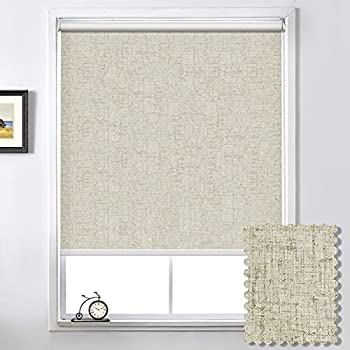 100% Blackout Roller Shade Window Blind with Thermal Insulated UV Protection Fabric Striped Jacquard Blinds for Windows Window Blinds for Bedrooms,Living Room,Bathroom,Office Easy to Install