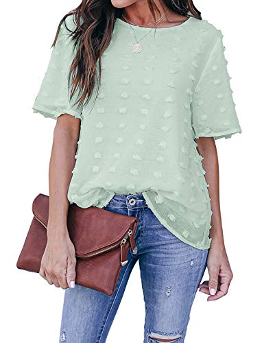 Blooming Jelly Womens Chiffon Blouses Summer Casual Round Neck Short Sleeve Pom Pom Shirts Tops (Medium, Mint)