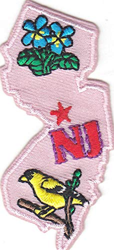 'NJ' NEW JERSEY STATE SHAPE - Iron On Embroidered Applique Patch/Northeast