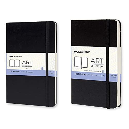 Moleskine Art Collection Sketchbook, Cuaderno de Bocetos con Tapa Dura y Cierre Elástico, Papel Adecuado para Bolígrafos + S01054 Cuaderno de bocetos (tamaño bolsillo, tapa dura), color negro