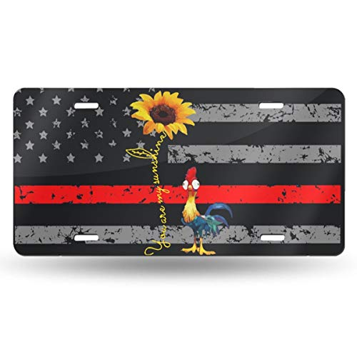 Bomini Car License Plate Frame Chicken Thin Red Line American Flag Metal Covers for Front Wall Bicycle Golf Cart Truck Tag Signs SUV Bar Decorative 6'X12'