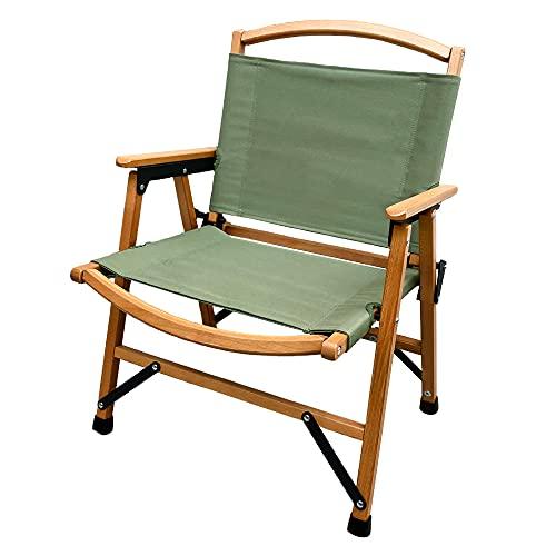 Viaggio+ アウトドア チェア 折りたたみ ウッド キャンピングチェア 木製 椅子 イス コンパクト ローチェア キャンプ 肘掛け (スモーキーグリーン)