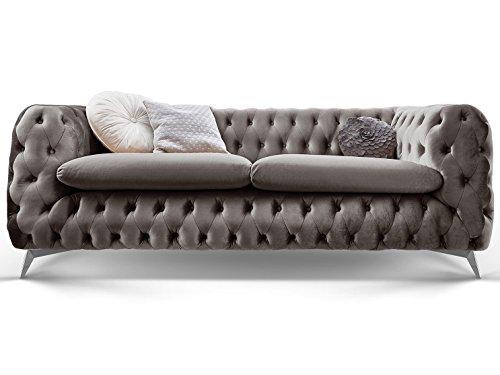 Chesterfield Sofa Couch Stoff Samt 3 Sitzer 2 Sitzer Sessel 1 Sitzer Designer Möbel Emma (3-Sitzer, Silber-Grau)