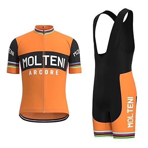 CQXMM Tute da Ciclismo da Uomo, Pantaloncini con Bretelle da Bicicletta e Maglie da Equitazione a Maniche Corte per Ciclismo all'aperto