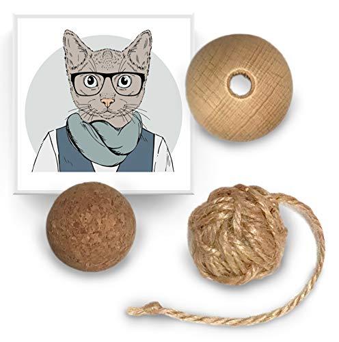 Katzenball-Set aus Holz, Kork und Jute. Von Hand und mit Liebe in Deutschland hergestellt. Toller Katzenspaß mit nachhaltigen Naturmaterialien