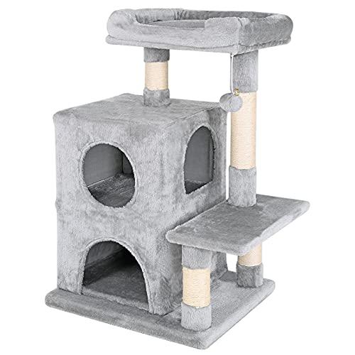lionto by dibea Tiragraffi per gatto albero tiragraffi gatto gioco giocattolo gatti Altezza 80 cm Grigio chiaro