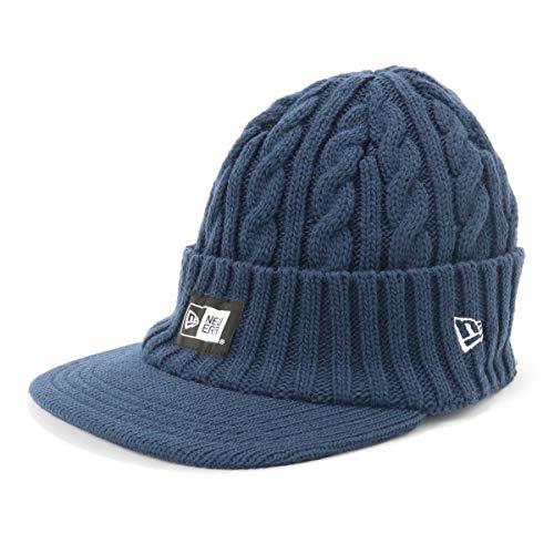 (ニューエラ) NEW ERA ニューエラ New Era GOLF ゴルフ バイザー ニット帽 つば付き ボックスロゴ ケーブル ネイビー FREE 幅:約22cm / 深さ:約19cm / 折返:約7cm