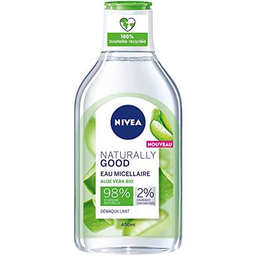 NIVEA NATURALLY GOOD Eau Micellaire à l'Aloe Vera Bio 400 ml, nettoyant visage aux ingrédients d'origine naturelle, soin visage fraîcheur hydratant et rafraichissant