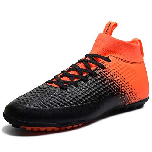 TYX Fußballschuhe, High-Top Knöchel Pflege Fußball Leichtathletik Schuhe Teenager Atmungsaktiv Verschleißfestigkeit Turnschuhe Rutschfestes,Orange,36