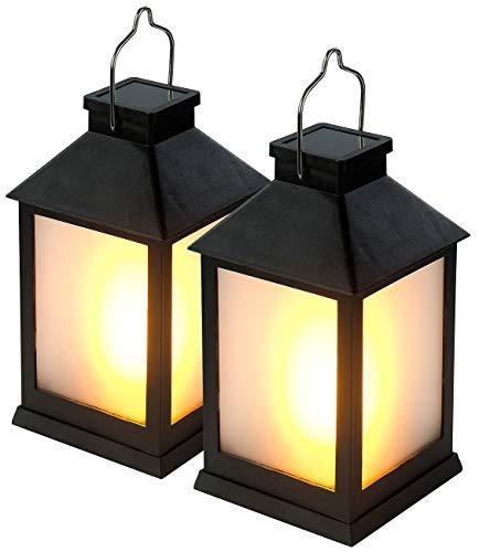 Lunartec Laterne Flammeneffekt: 2er-Set Solar-Gartenlaternen, 12 Flammeneffekt-LEDs, Lichtsensor, Akku (LED Laterne mit Flammeneffekt)